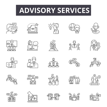 Advisory services line icons, signs set, vector. Advisory services outline concept illustration: advisory,business,service,information,communication,concept