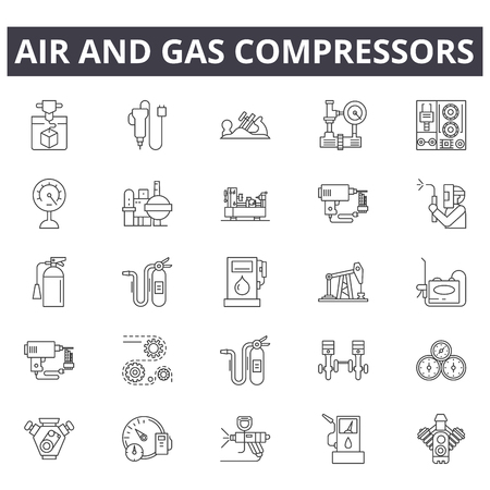 Icônes de ligne de compresseurs d'air et de gaz, ensemble de signes, vecteur. Les compresseurs d'air et de gaz décrivent l'illustration du concept : compresseur, gaz, air, industriel, équipement, puissance, outil