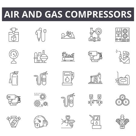 Icone della linea di compressori di aria e gas, set di segni, vettore. Illustrazione del concetto di contorno dei compressori di aria e gas: compressore,gas,aria,industriale,attrezzatura,alimentazione,utensile