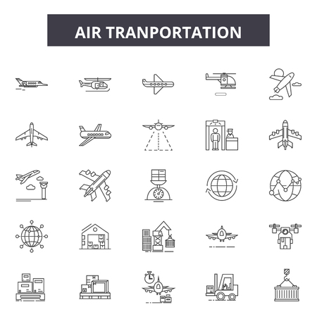 Air transportation line icons, signs set, vector. Air transportation outline concept illustration: transport,plane,vehicle,transportation,train,car,airplane,truck