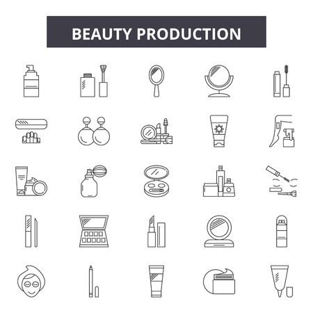 Beauty production line icons, signs set, vector. Beauty production outline concept illustration: production,isolated,debackground,industry,beauty
