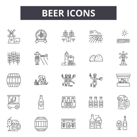 Beer line icons, signs set, vector. Beer outline concept illustration: beer,alcohol,bar,pub,lager,drink,glass,symbol