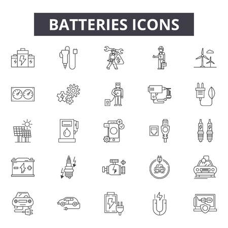 Batteries line icons, signs set, vector. Batteries outline concept illustration: energy,battery,power,electricity,charge