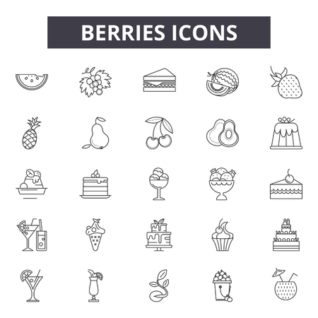 Berries line icons, signs set, vector. Berries outline concept illustration: berry,food,vegetarian,fresh,organic,fruit,symbol