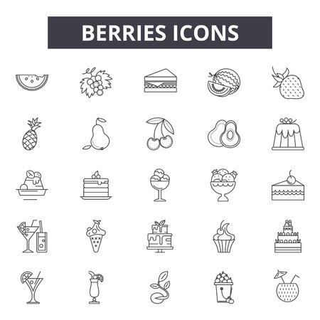 Berries line icons, signs set, vector. Berries outline concept illustration: berry,food,vegetarian,fresh,organic,fruit,symbol