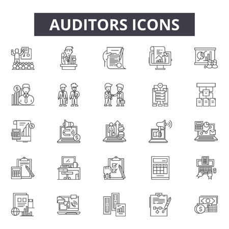 Auditors line icons, signs set, vector. Auditors outline concept illustration: business,auditor,financial,audit,document,accounting,finance,management Illustration