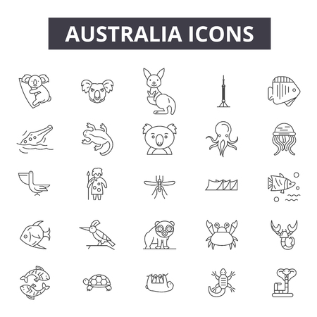 Icone della linea Australia, set di segni, vettore. Illustrazione del concetto di contorno dell'Australia: australia,mappa,isolato,viaggio,sydney,australiano,paese
