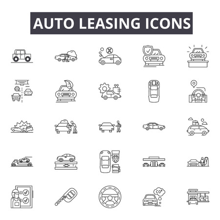 Auto leasing line icons, signs set, vector. Auto leasing outline concept illustration: car,auto,automobile,business,sale,concept,vehicle,buy