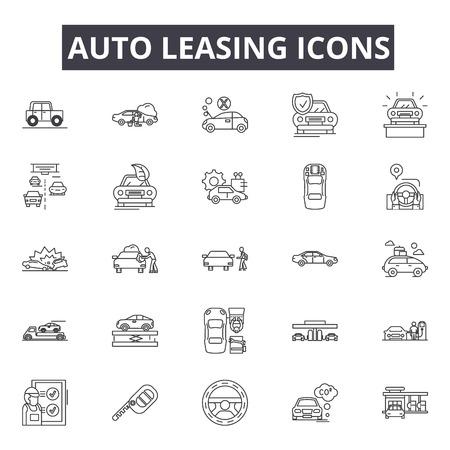 Auto leasing line icons, signs set, vector. Auto leasing outline concept illustration: car,auto,automobile,business,sale,concept,vehicle,buy