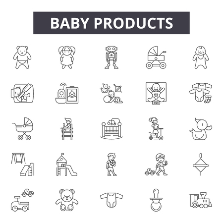 Baby products line icons, signs set, vector. Baby products outline concept illustration: baby,product,bottle,debib,child