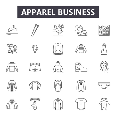 Apparel business line icons, signs set, vector. Apparel business outline concept illustration: business,apparel,defashion,shirt Illustration