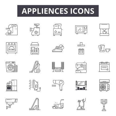 Gerätezeilensymbole, Zeichensatz, Vektor. Geräte skizzieren Konzeptillustration: Maschine, Kühlschrank, Haus, Backofen, Küche, Elektro, Ausrüstung, Mikrowelle