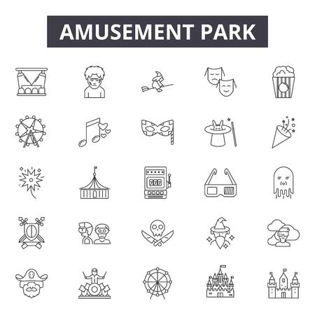 Amusement park line icons, signs set, vector. Amusement park outline concept illustration: park,fun,amusement,entertainment,circus,funfair,carousel