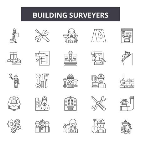 Construcción de iconos de línea de topógrafos, conjunto de signos, vector. Los topógrafos de edificios describen la ilustración del concepto: edificio, topógrafo, ingeniería, equipo, ingeniero, construcción, industria