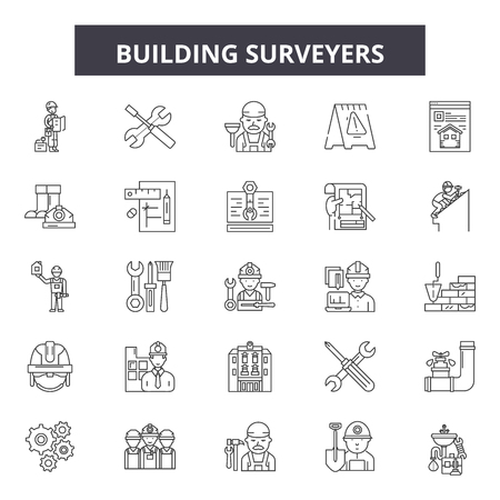 Building surveyors line icons, signs set, vector. Building surveyors outline concept illustration: building,surveyor,engineering,equipment,engineer,construction,industry