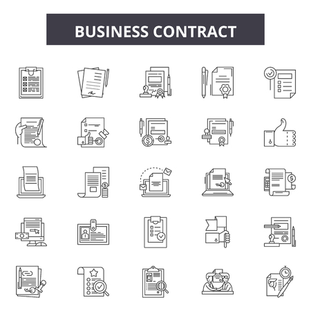 Business contracts line icons, signs set, vector. Business contracts outline concept illustration: contract,business,document,agreement,paperature