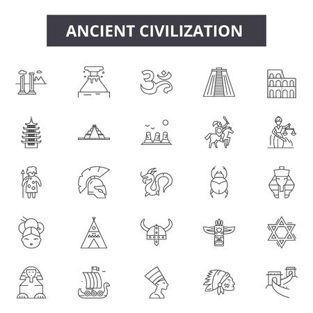 Icônes de ligne de civilisation ancienne, ensemble de signes, vecteur. Illustration de concept de contour de civilisation antique : ancienne, civilisation, culture, histoire, vieux Vecteurs