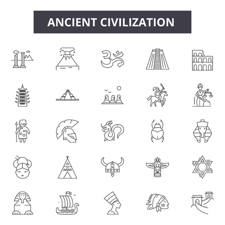 Ancient civilization line icons, signs set, vector. Ancient civilization outline concept illustration: ancient,civilization,culture,history,old