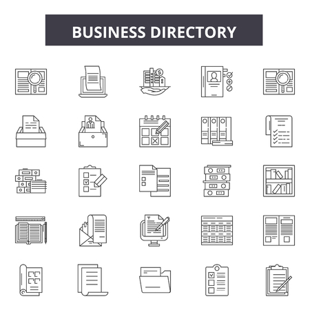 Business directory line icons, signs set, vector. Business directory outline concept illustration: business,directory,phone,book,page,telephone