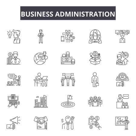 Business administration line icons, signs set, vector. Business administration outline concept illustration: business,administration,people,teamwork,human,management,businessman