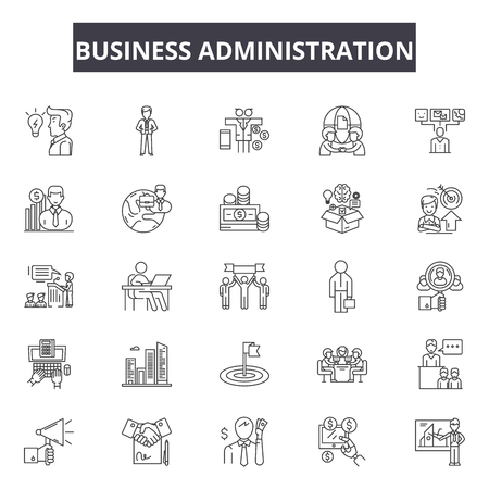 Business administration line icons, signs set, vector. Business administration outline concept illustration: business,administration,people,teamwork,human,management,businessman