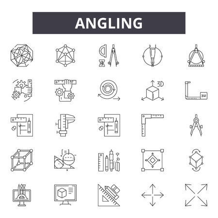 Angling line icons, signs set, vector. Angling outline concept illustration: angle,measure,rotation,pictogram,rotate