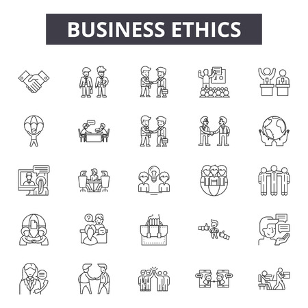 Icônes de ligne d'éthique des affaires, ensemble de signes, vecteur. L'éthique des affaires décrit l'illustration du concept : entreprise, entreprise, entreprise, client, valeur, éthique, responsabilité, culture, confiance