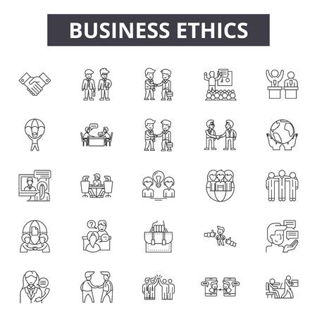Icone della linea di etica aziendale, set di segni, vettore. Illustrazione di concetto del profilo di etica aziendale: affari, azienda, azienda, cliente, valore, etica, responsabilità, cultura, fiducia
