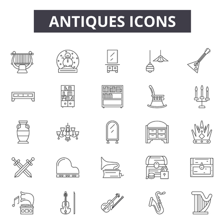Antiques line icons, signs set, vector. Antiques outline concept illustration: antique,element,deold,art