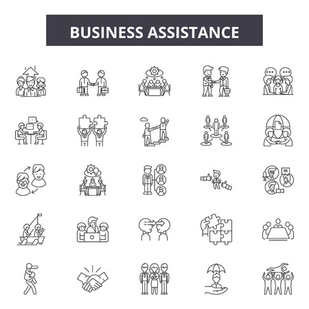 Business assistance line icons, signs set, vector. Business assistance outline concept illustration: business,assistance,service,support,person,communication