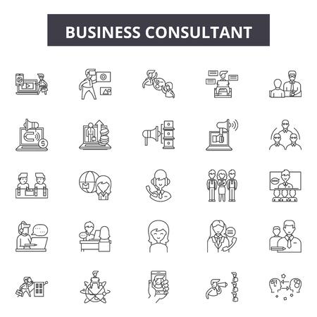 Icone della linea di consulente aziendale, set di segni, vettore. Illustrazione del concetto di contorno del consulente aziendale: affari, consulenza, strategia, squadra, supporto, servizio, lavoro di squadra