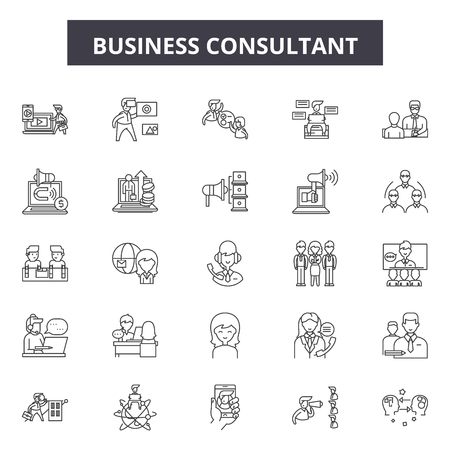 Unternehmensberater Liniensymbole, Zeichensatz, Vektor. Unternehmensberater skizzieren Konzeptillustration: Geschäft, Beratung, Strategie, Team, Support, Service, Teamwork