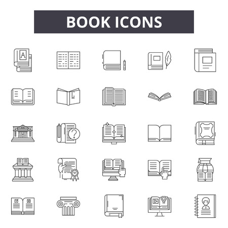 Book line icons, signs set, vector. Book outline concept illustration: education,library,book,learning,literature,textbook