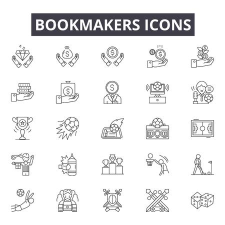 Bookmakers line icons, signs set, vector. Bookmakers outline concept illustration: bookmaker,game,sport,play,design