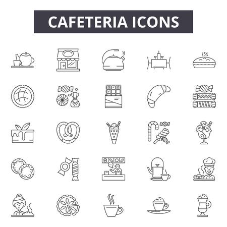 Cafeteria line icons, signs set, vector. Cafeteria outline concept illustration: cafeteria,cafe,breakfast,restaurant,menu,food