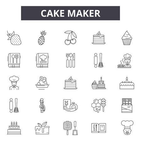 Cake maker line icons, signs set, vector. Cake maker outline concept illustration: cake,food,maker,cup,isolated