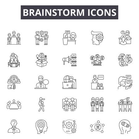 Brainstorm line icons, signs set, vector. Brainstorm outline concept illustration: idea,brainstorm,concept,creative,creativity,business Illustration