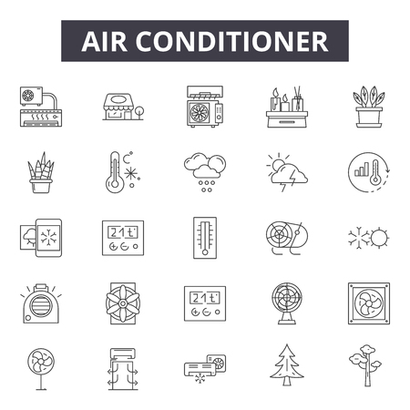 Air conditioner line icons, signs set, vector. Air conditioner outline concept illustration: air,conditioner,conditioning,cold,climate,electric,cooling 免版税图像 - 120893195