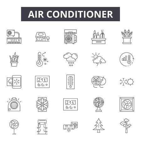 Klimaanlagen-Liniensymbole, Zeichensatz, Vektor. Abbildung des Konzepts der Klimaanlage: Klimaanlage, Klimaanlage, Kälte, Klima, Elektrik, Kühlung