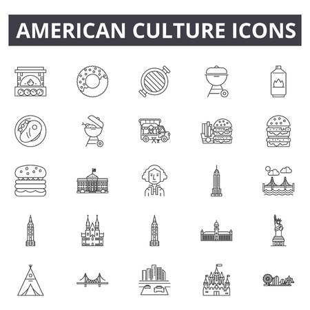 American culture line icons, signs set, vector. American culture outline concept illustration: american,culture,travel,usa,isolated