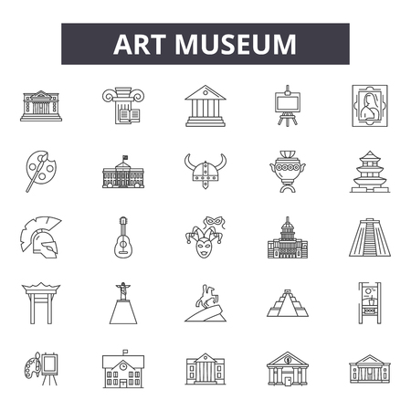 Art museum line icons, signs set, vector. Art museum outline concept illustration: museum,art,artist,isolated,paint