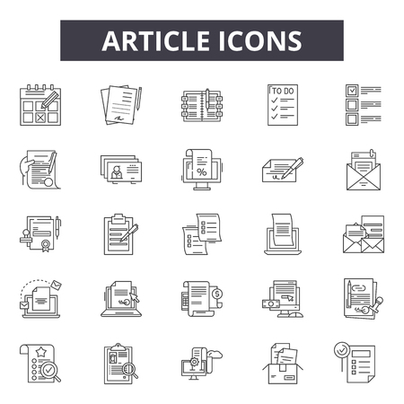 Article line icons, signs set, vector. Article outline concept illustration: article,media,deweb,flat,document,news Stock Illustratie