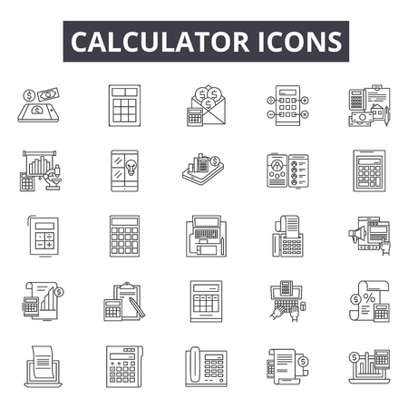 Calculator line icons, signs set, vector. Calculator outline concept illustration: calculator,business,finance,mathematics,accounting,financial,symbol