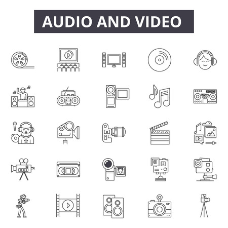 Audio editing line icons, signs set, vector. Audio editing outline concept illustration: audio,music,sound,video,web,media,microphone Foto de archivo - 120893306