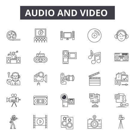 Icone della linea di editing audio, set di segni, vettore. Illustrazione del concetto di modifica audio: audio, musica, suono, video, web, media, microfono,
