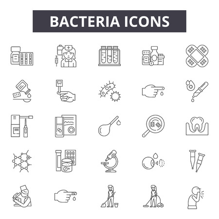 Bacteria line icons, signs set, vector. Bacteria outline concept illustration: bacteria,virus,medicine,infection,biology,bacterium,science