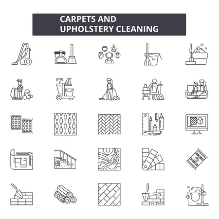 Carpets and upholstery cleaning line icons, signs set, vector. Carpets and upholstery cleaning outline concept illustration: upholstery,carpet,pictogram,service,cleaning,logo Archivio Fotografico - 120893323