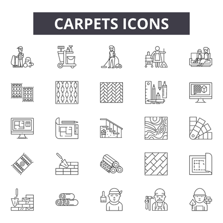 Carpets line icons, signs set, vector. Carpets outline concept illustration: carpet,isolated,floor,shape,design