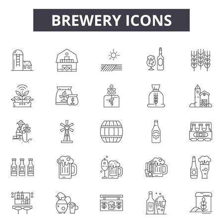 Brewer line icons, signs set, vector. Brewer outline concept illustration: brewer,beer,alcohol,drink,brewery,beverage,design  イラスト・ベクター素材