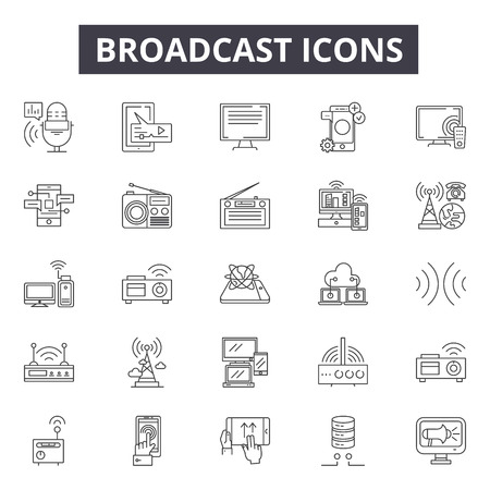 Broadcast line icons, signs set, vector. Broadcast outline concept illustration: antenna,communication,technology,internet,radio,broadcasting,connection Vettoriali